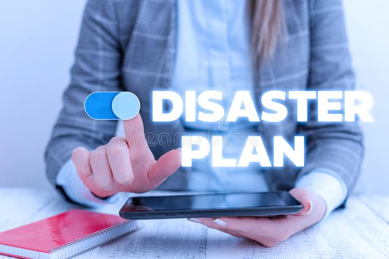 Conceptual hand writing showing Disaster Plan. Business photo showcasing Respond to Emergency Preparedness Survival and. Conceptual hand writing showing Disaster royalty free stock photo