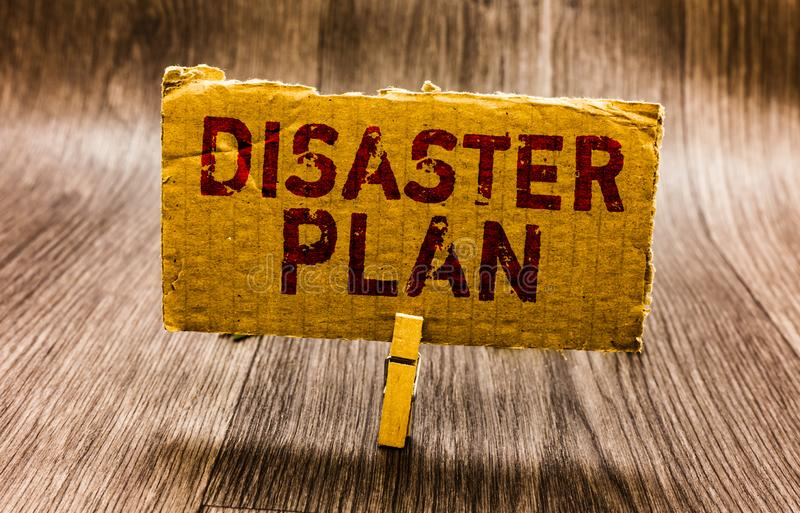 Conceptual hand writing showing Disaster Plan. Business photo text Respond to Emergency Preparedness Survival and First Aid Kit Pa. Per notes reminders question royalty free stock photography