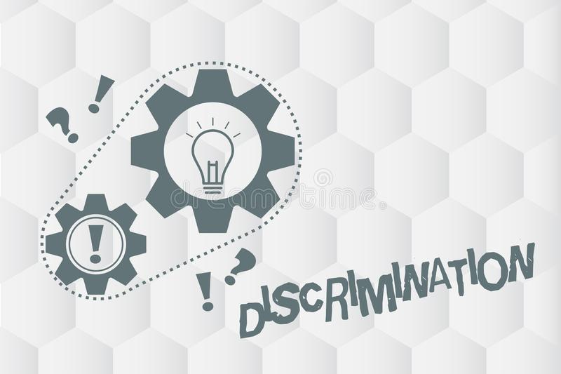 Conceptual hand writing showing Discrimination. Business photo showcasing Prejudicial treatment of different categories. Of showing stock illustration