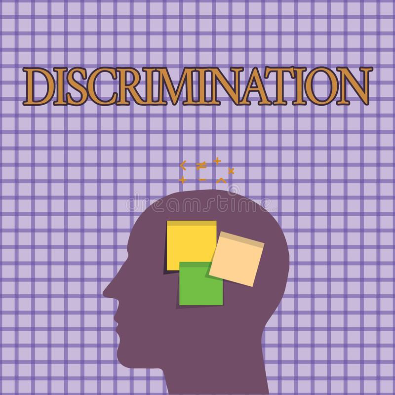 Conceptual hand writing showing Discrimination. Business photo showcasing Prejudicial treatment of different categories of showing.  vector illustration