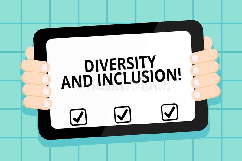 Conceptual hand writing showing Diversity And Inclusion. Business photo showcasing range huanalysis difference includes. Conceptual hand writing showing vector illustration