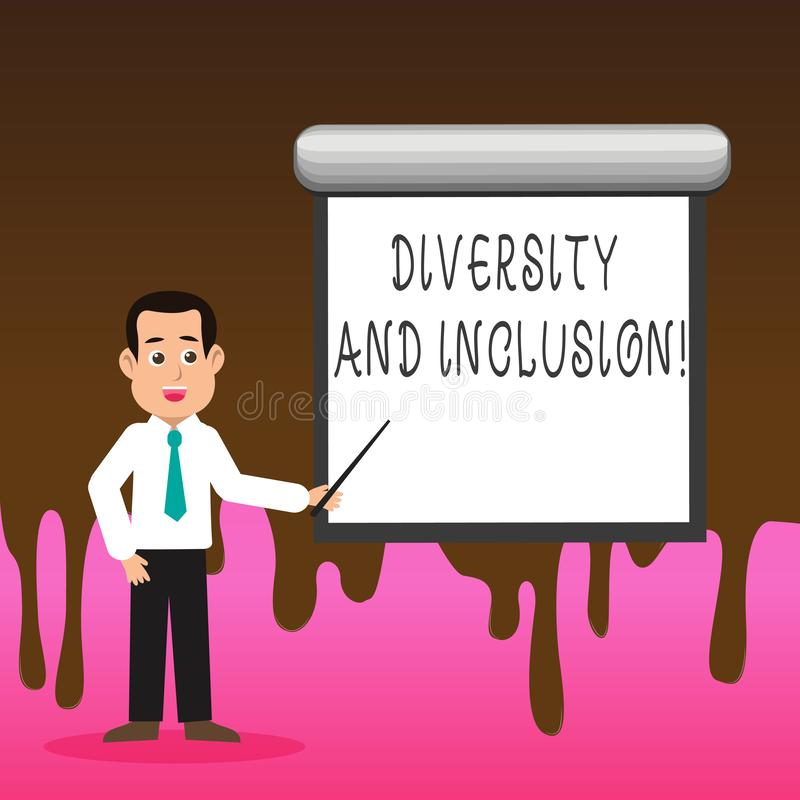 Conceptual hand writing showing Diversity And Inclusion. Business photo text range huanalysis difference includes race. Conceptual hand writing showing Diversity vector illustration
