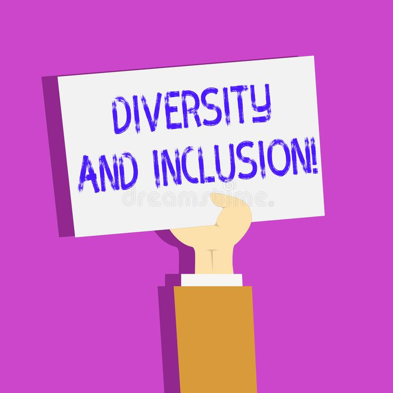 Conceptual hand writing showing Diversity And Inclusion. Business photo text range huanalysis difference includes race. Conceptual hand writing showing Diversity royalty free illustration