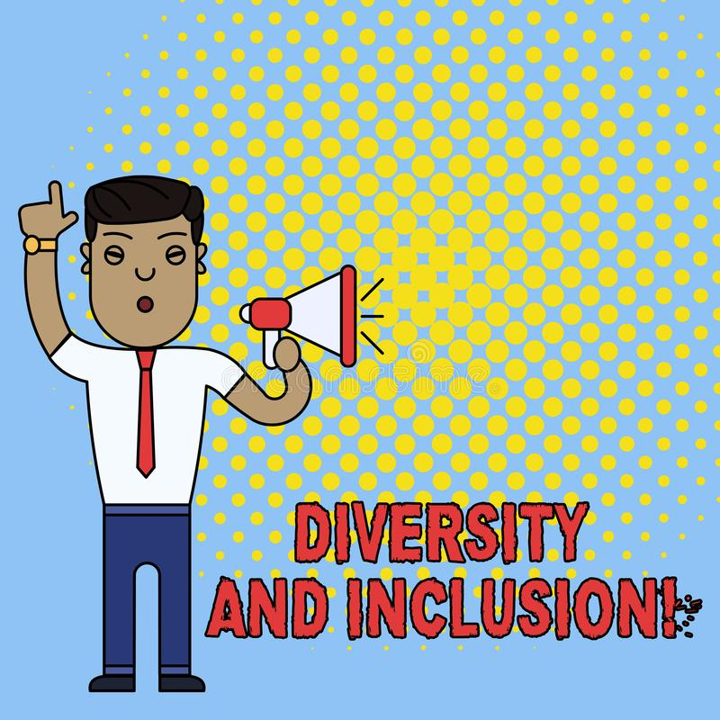Conceptual hand writing showing Diversity And Inclusion. Business photo text range huanalysis difference includes race. Conceptual hand writing showing Diversity stock illustration