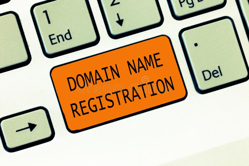 Conceptual hand writing showing Domain Name Registration. Business photo text Own an IP Address Identify a particular. Webpage royalty free stock photography