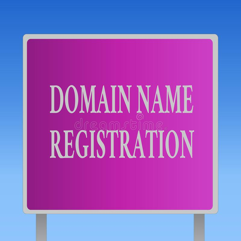 Conceptual hand writing showing Domain Name Registration. Business photo text Own an IP Address Identify a particular Webpage royalty free illustration