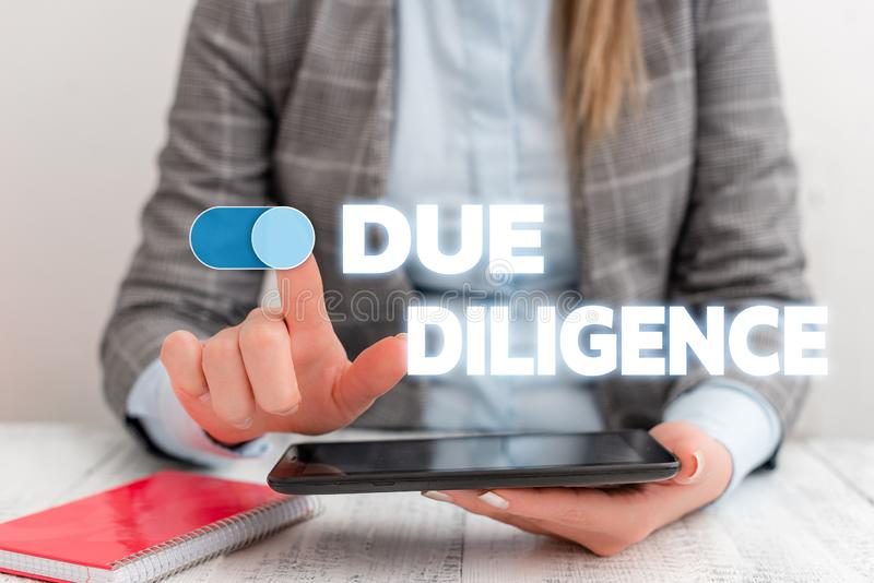 Conceptual hand writing showing Due Diligence. Business photo showcasing Comprehensive Appraisal Voluntary Investigation. Conceptual hand writing showing Due stock images