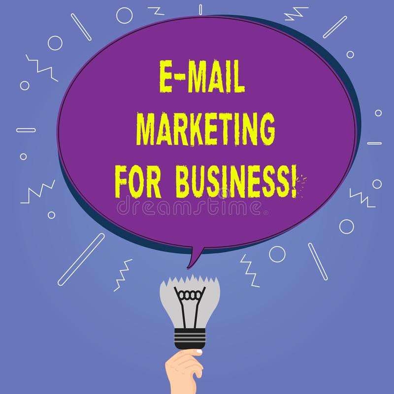 Conceptual hand writing showing E Mail Marketing For Business. Business photo showcasing Mailing as advertising campaign. Strategies Oval Speech Bubble Above a vector illustration