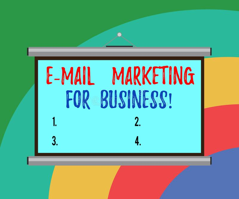 Conceptual hand writing showing E Mail Marketing For Business. Business photo text Mailing as advertising campaign strategies. Portable Wall Projection Screen royalty free illustration