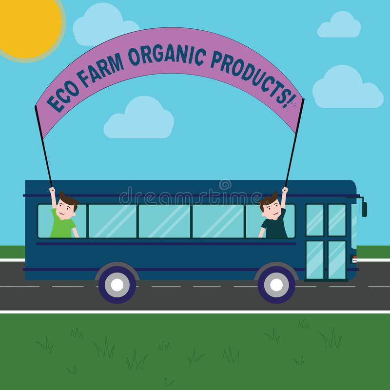 Conceptual hand writing showing Eco Farm Organic Products. Business photo showcasing Natural healthy food fresh. Vegetables and fruits Two Kids Inside School vector illustration