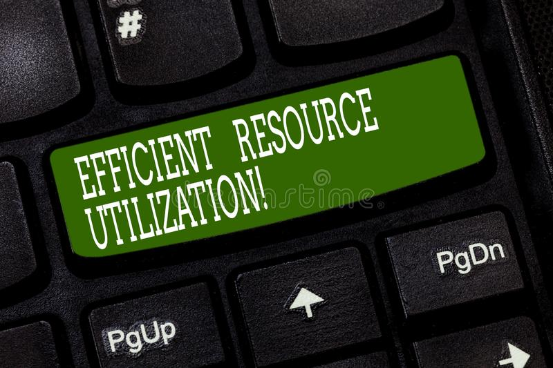 Conceptual hand writing showing Efficient Resource Utilization. Business photo text Maximizing the effectiveness and productivity. Keyboard key Intention to royalty free stock image