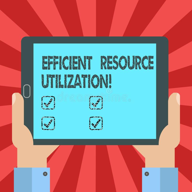Conceptual hand writing showing Efficient Resource Utilization. Business photo text Maximizing the effectiveness and productivity. Hu analysis Hand Holding royalty free illustration