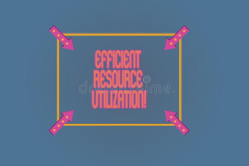 Conceptual hand writing showing Efficient Resource Utilization. Business photo text Maximizing the effectiveness and productivity. Square Outline with Corner vector illustration