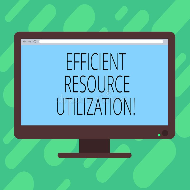 Conceptual hand writing showing Efficient Resource Utilization. Business photo text Maximizing the effectiveness and. Productivity Blank Computer Monitor Color stock illustration