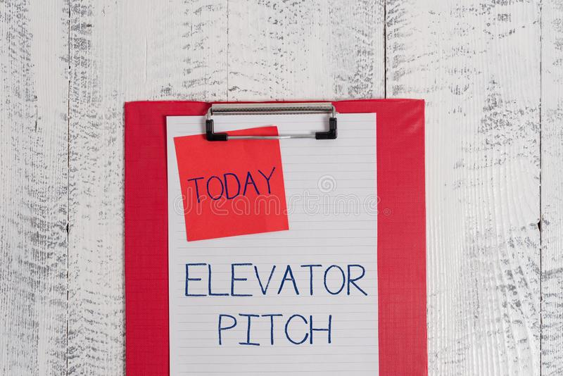 Conceptual hand writing showing Elevator Pitch. Business photo text A persuasive sales pitch Brief speech about the. Conceptual hand writing showing Elevator royalty free stock image