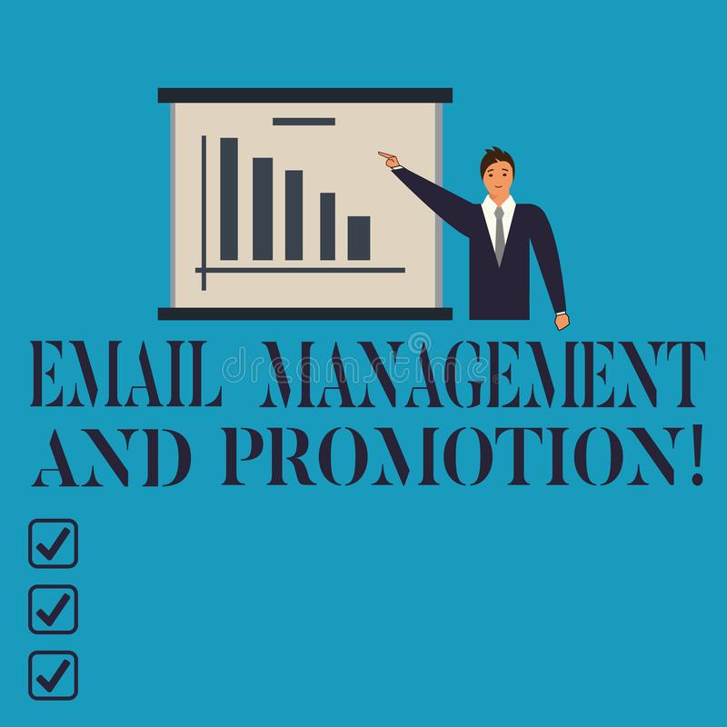 Conceptual hand writing showing Email Management And Promotion. Business photo showcasing Mailing as advertising. Campaign strategies Man in Business Suit vector illustration