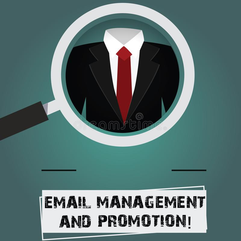 Conceptual hand writing showing Email Management And Promotion. Business photo text Mailing as advertising campaign. Strategies Magnifying Glass Enlarging a stock illustration
