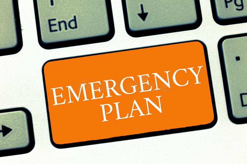 Conceptual hand writing showing Emergency Plan. Business photo text Procedures for response to major emergencies Be. Prepared stock photos
