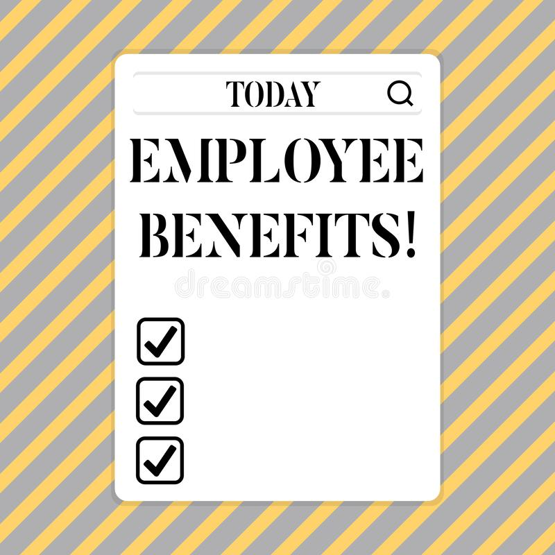 Conceptual hand writing showing Employee Benefits. Business photo showcasing list of advantage recruiter get at work. Insurance stock illustration