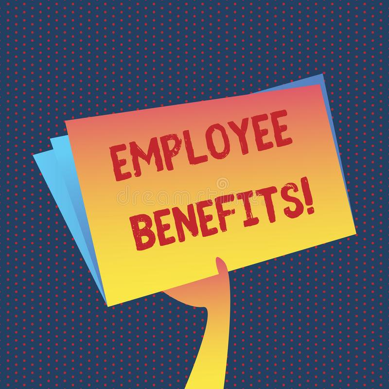 Conceptual hand writing showing Employee Benefits. Business photo showcasing list of advantage recruiter get at work. Insurance royalty free illustration