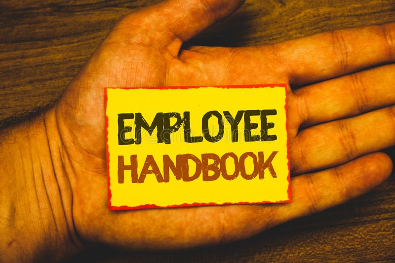 Conceptual hand writing showing Employee Handbook. Business photo showcasing Document Manual Regulations Rules Guidebook Policy Co stock illustration