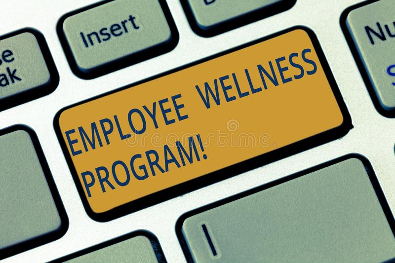 Conceptual hand writing showing Employee Wellness Program. Business photo showcasing Help improve the health of its labor force. Keyboard key Intention to royalty free stock images