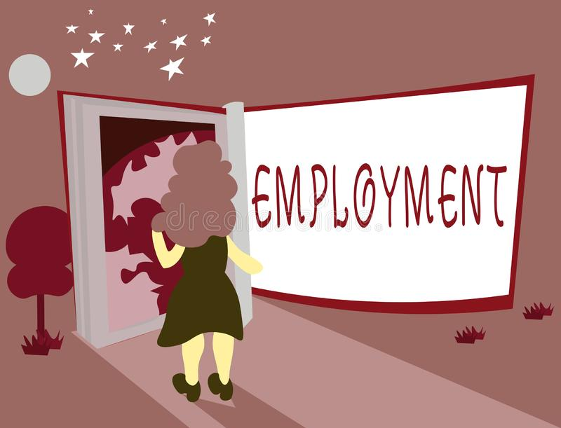 Conceptual hand writing showing Employment. Business photo showcasing State of having paid work Occupation Utilization. Of something royalty free illustration