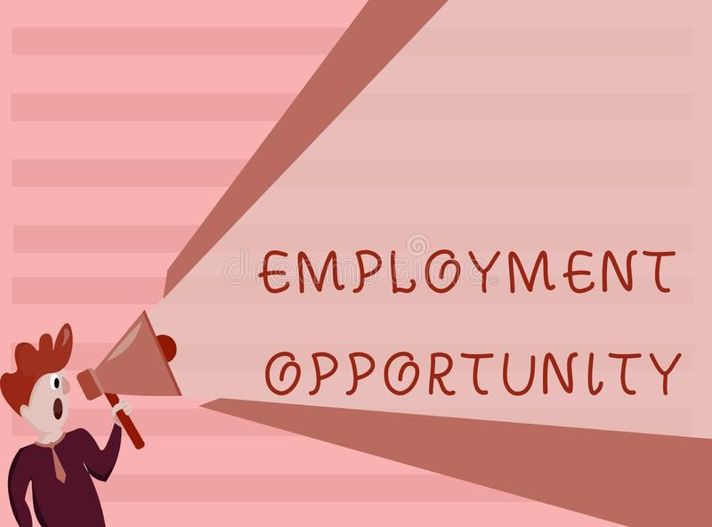 Conceptual hand writing showing Employment Opportunity. Business photo showcasing no Discrimination against Applicant. Equal Policy royalty free illustration