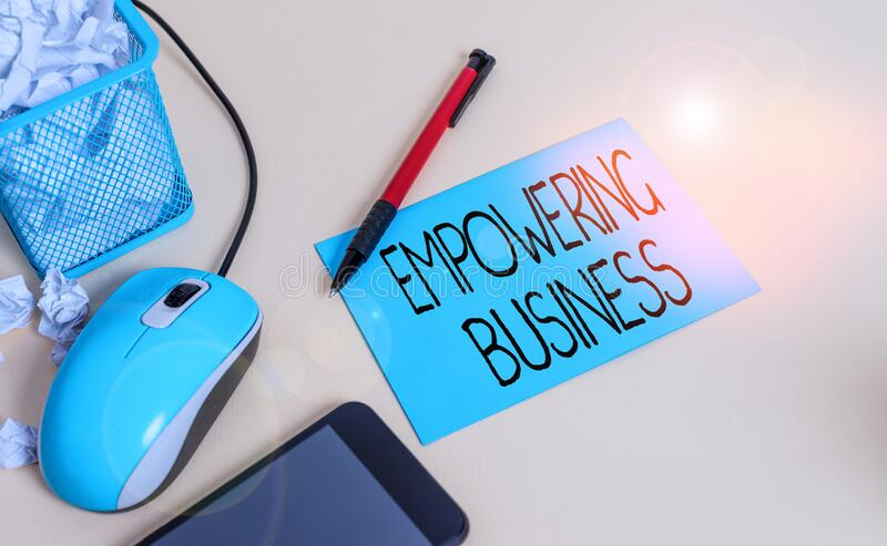 Conceptual hand writing showing Empowering Business. Business photo text creating an environment that fosters growth of. Conceptual hand writing showing royalty free stock image