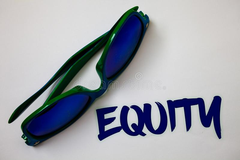 Conceptual hand writing showing Equity. Business photo text Value of a company divided into equal parts owned by shareholders Idea. S messages white background stock image