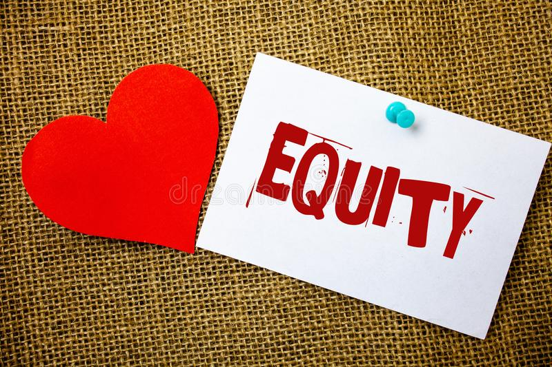 Conceptual hand writing showing Equity. Business photo text Value of a company divided into equal parts owned by shareholders Mess. Age note jute background red stock images