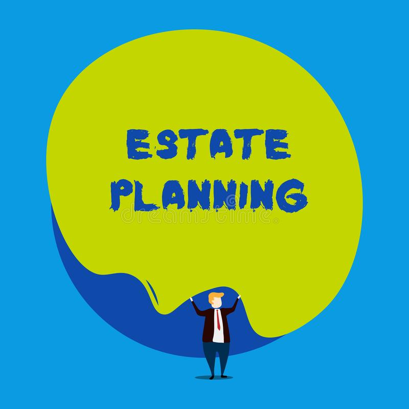 Conceptual hand writing showing Estate Planning. Business photo showcasing The analysisagement and disposal of that. Conceptual hand writing showing Estate vector illustration