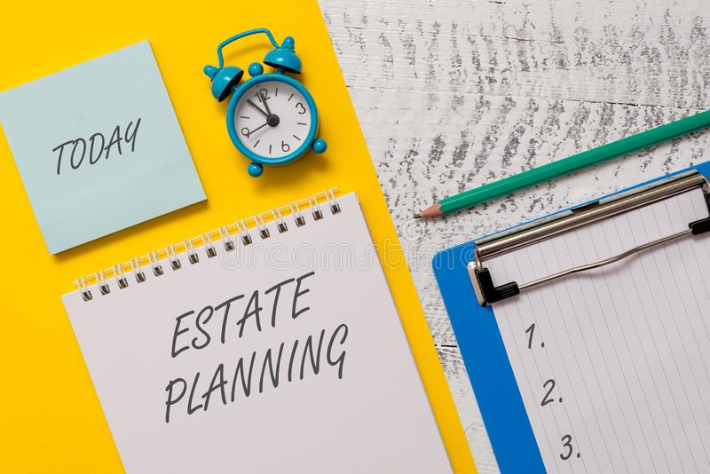 Conceptual hand writing showing Estate Planning. Business photo showcasing The analysisagement and disposal of that. Conceptual hand writing showing Estate royalty free stock images