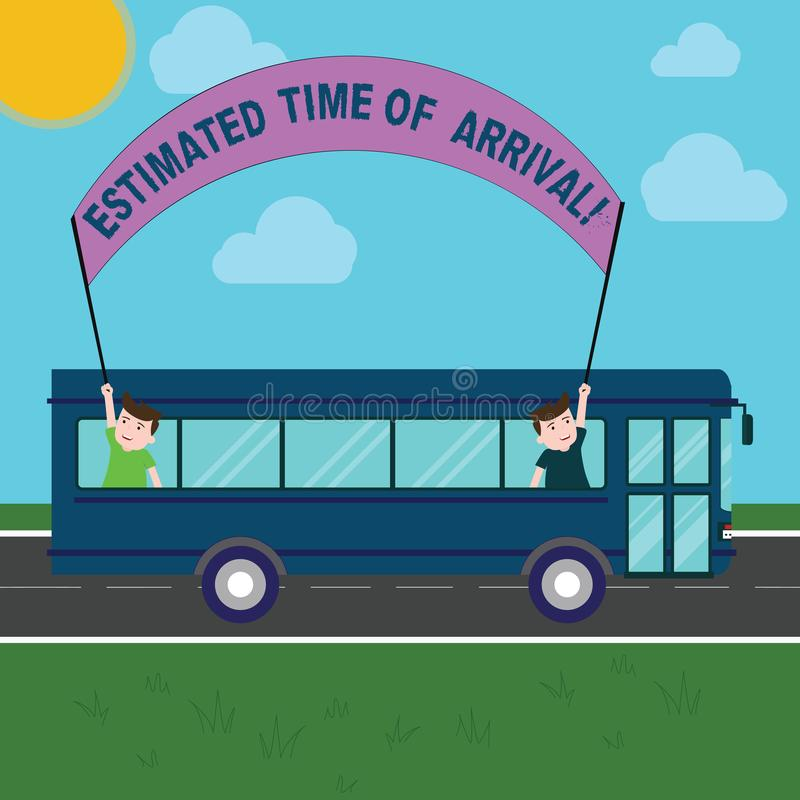 Conceptual hand writing showing Estimated Time Of Arrival. Business photo showcasing Hours at which a flight is supposed. To arrive Two Kids Inside School Bus stock illustration