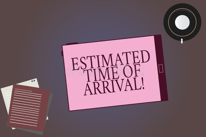 Conceptual hand writing showing Estimated Time Of Arrival. Business photo showcasing Hours at which a flight is supposed. To arrive Tablet Screen Saucer and stock illustration