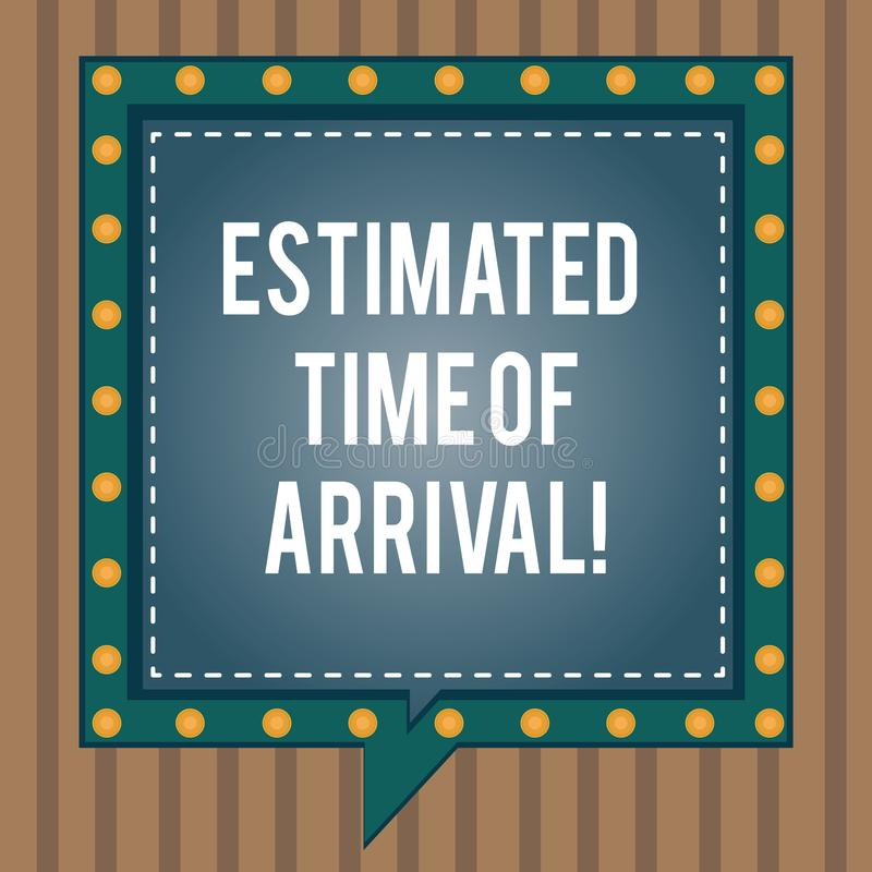 Conceptual hand writing showing Estimated Time Of Arrival. Business photo text Hours at which a flight is supposed to. Arrive Square Speech Bubbles Inside other royalty free illustration