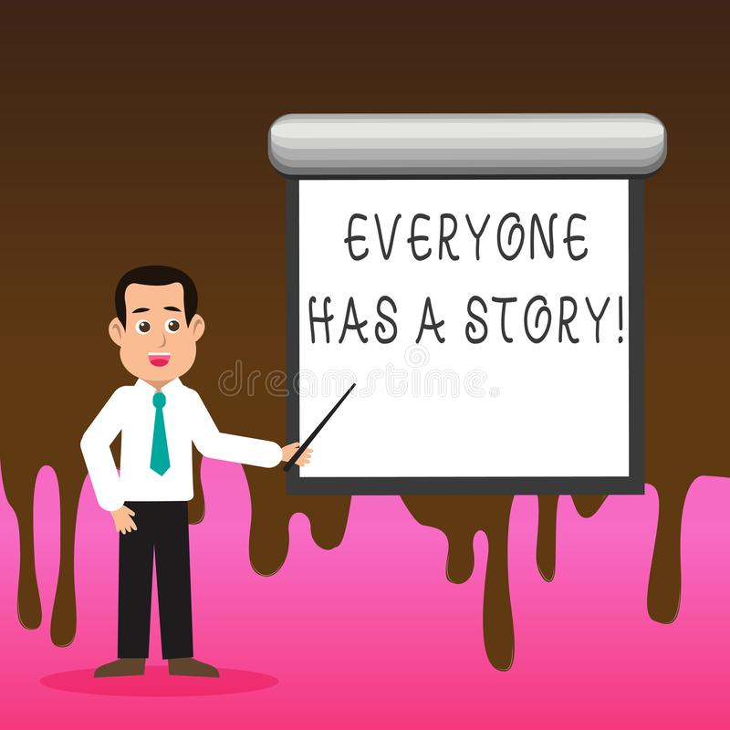 Conceptual hand writing showing Everyone Has A Story. Business photo text account of past events in someones life or. Conceptual hand writing showing Everyone stock illustration
