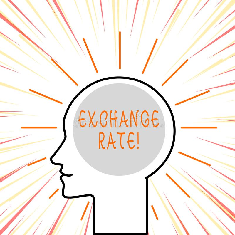Conceptual hand writing showing Exchange Rate. Business photo text value of one currency for the purpose of conversion royalty free illustration