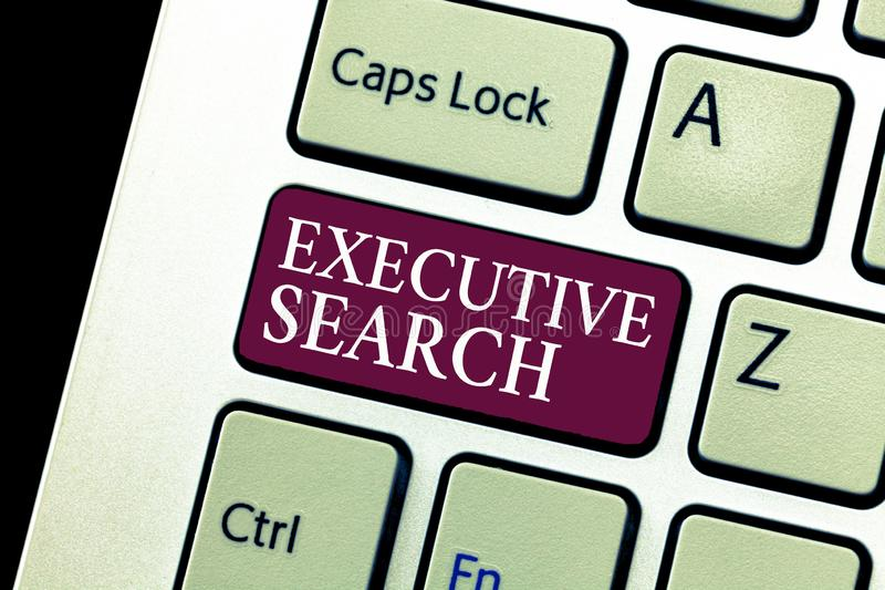 Conceptual hand writing showing Executive Search. Business photo text recruitment service organizations pay to seek candidates stock photos