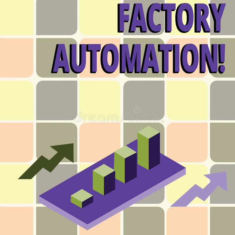 Conceptual hand writing showing Factory Automation. Business photo text automatic operation and control of machinery or stock illustration