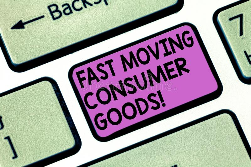 Conceptual hand writing showing Fast Moving Consumer Goods. Business photo showcasing High volume of purchases. Consumerism retail Keyboard key Intention to royalty free stock photography
