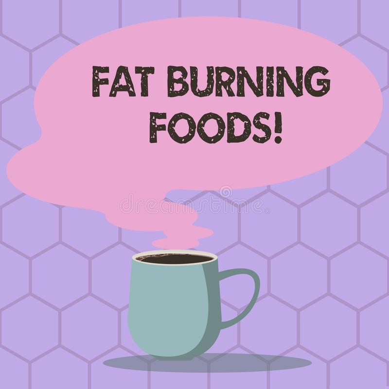Conceptual hand writing showing Fat Burning Foods. Business photo text Certain types of food burn calories as you chew. Them Mug of Hot Coffee with Blank Color vector illustration