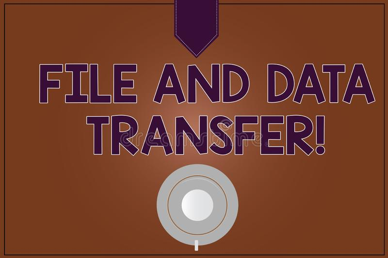 Conceptual hand writing showing File And Data Transfer. Business photo showcasing Transferring information online by the internet royalty free illustration