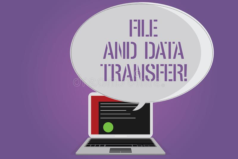 Conceptual hand writing showing File And Data Transfer. Business photo text Transferring information online by the royalty free illustration