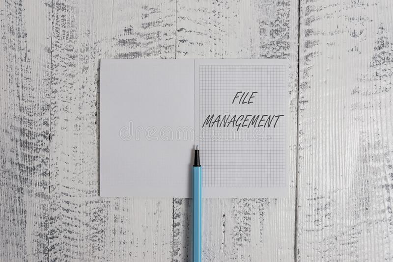 Conceptual hand writing showing File Management. Business photo showcasing computer program that provides user interface. Conceptual hand writing showing File royalty free stock photo