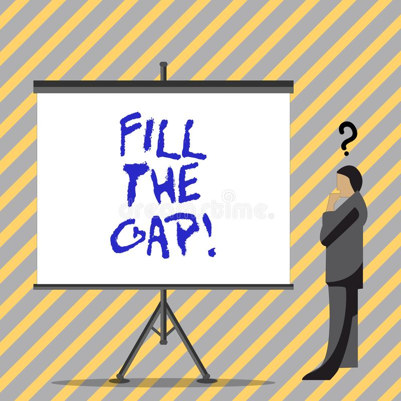 Conceptual hand writing showing Fill The Gap. Business photo text Put he missing part in its right place Solution to the. Puzzle stock illustration
