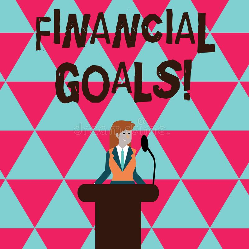 Conceptual hand writing showing Financial Goals. Business photo text targets usually driven by specific future financial royalty free illustration