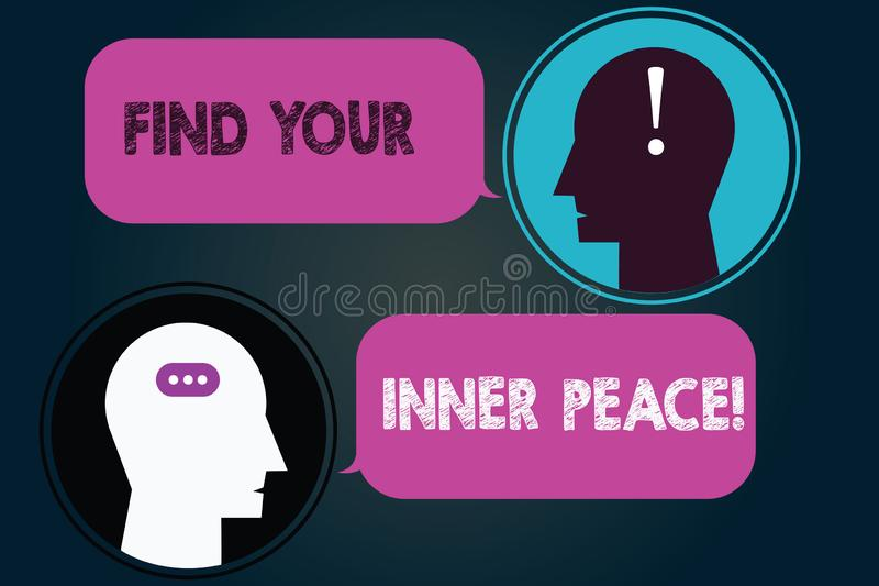 Conceptual hand writing showing Find Your Inner Peace. Business photo showcasing Peaceful style of life Positivism. Meditation Messenger Room with Chat Heads vector illustration