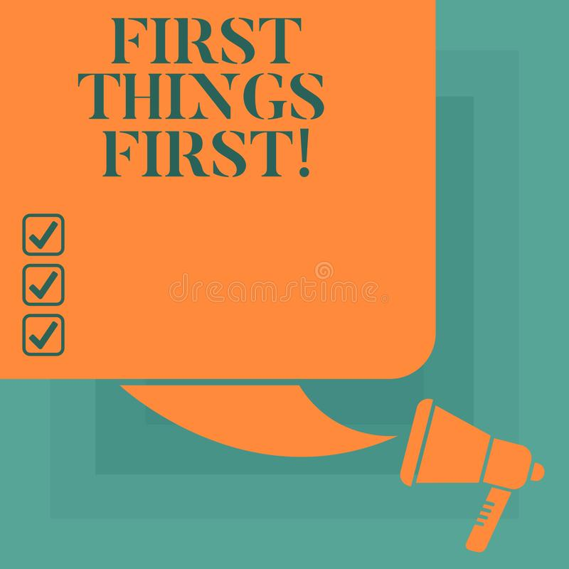 Conceptual hand writing showing First Things First. Business photo text important matters should dealt with before other. Things Color Silhouette of Blank royalty free illustration