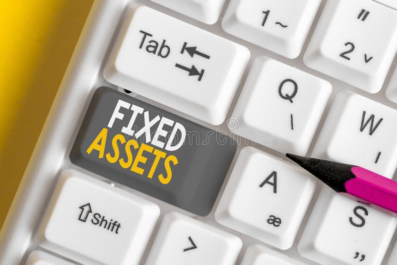 Conceptual hand writing showing Fixed Assets. Business photo showcasing longterm tangible piece of property or equipment. Conceptual hand writing showing Fixed royalty free stock photo